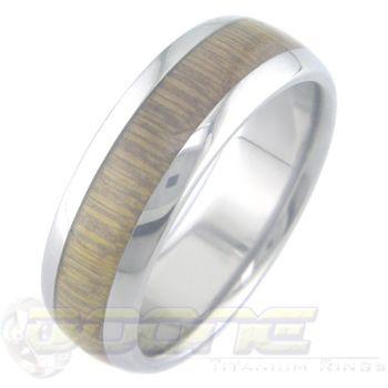 Bamboo Inlay Titanium Ring