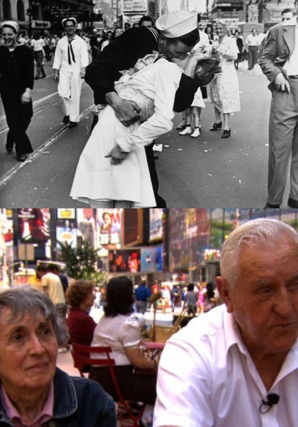 O marinheiro George Mendonsa e a enfermeira Greta Zimmer Friedman foram eternizados nesta fotografia na Times Square em 1945. Hoje, 67 anos depois, eles se reencontraram.     O mais engraçado é que os dois não se conheciam quando o beijo foi clicado. Quando a notícia que a 2° guerra mundial havia terminado, Mendonsa (que já havia bebido um pouco além da conta) correu pela Times Square, olhou para o lado e viu uma bela mulher vestida com roupa de enfermeira. O resultado todo mundo conhece.