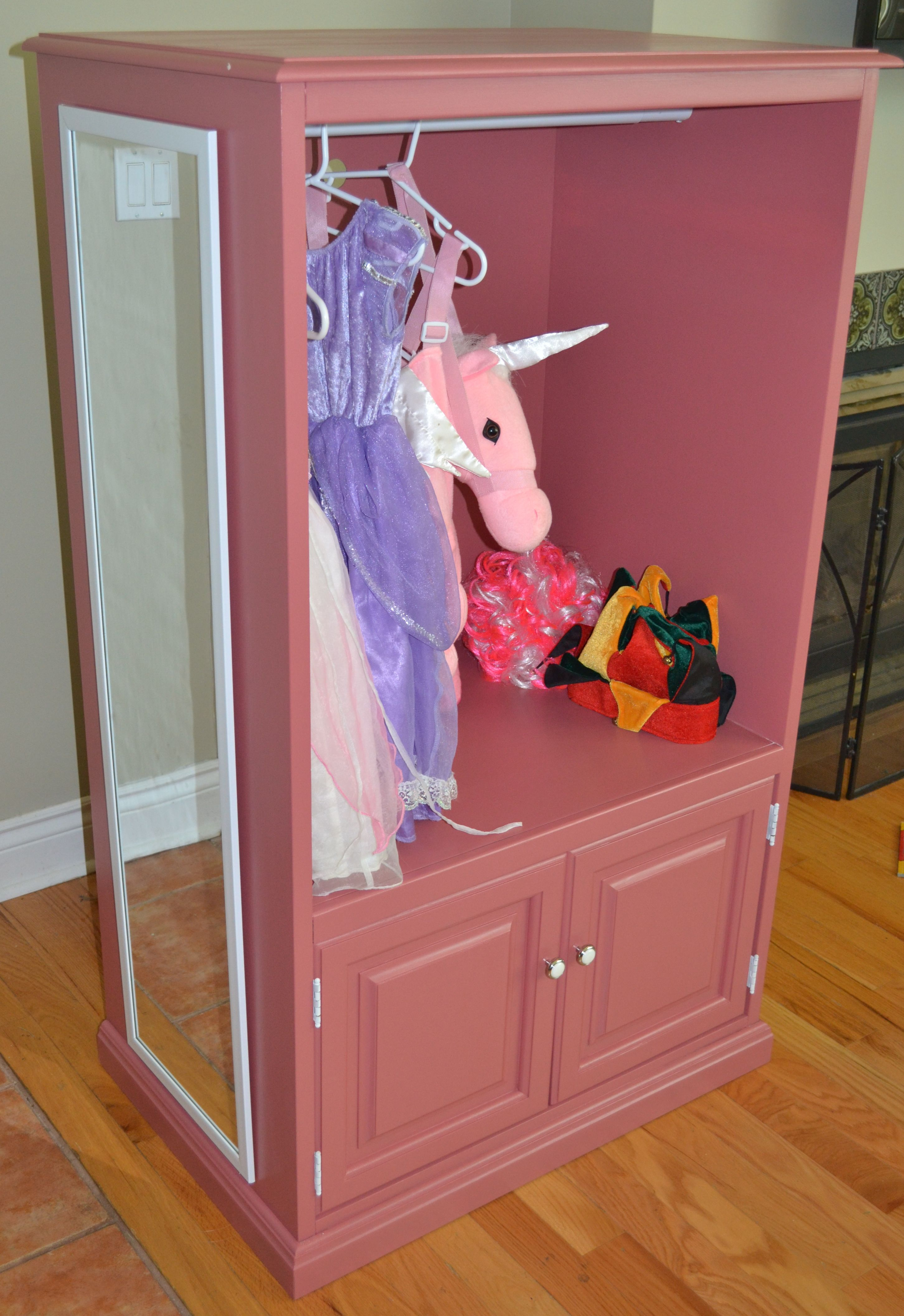 saw this on hgtv and loved it cute wardrobe for a little girls dress up clothes made out of an. Black Bedroom Furniture Sets. Home Design Ideas