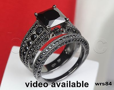 Black Sterling Silver 925 Nickel Free Ladies Gothic Engagement Wedding Ring Set