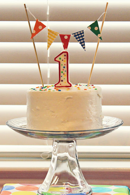 Little Inspirations Bright 1st Birthday Did This For Wyatts First So Cute And Easy To Make The Flag Banner Candle 99cents Dont Hate A