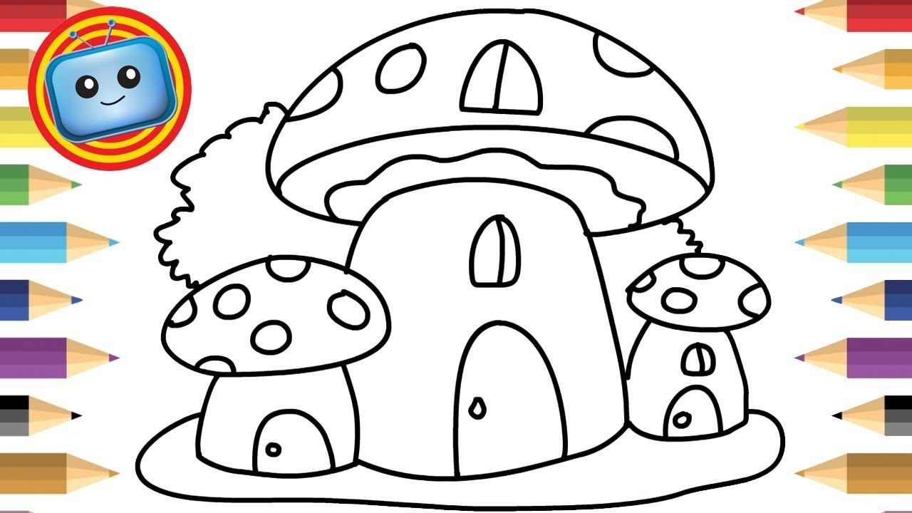 How To Draw A Mushroom House Colouring Book Simple Drawing Game Anim Easy Drawings Coloring Books Mushroom Drawing