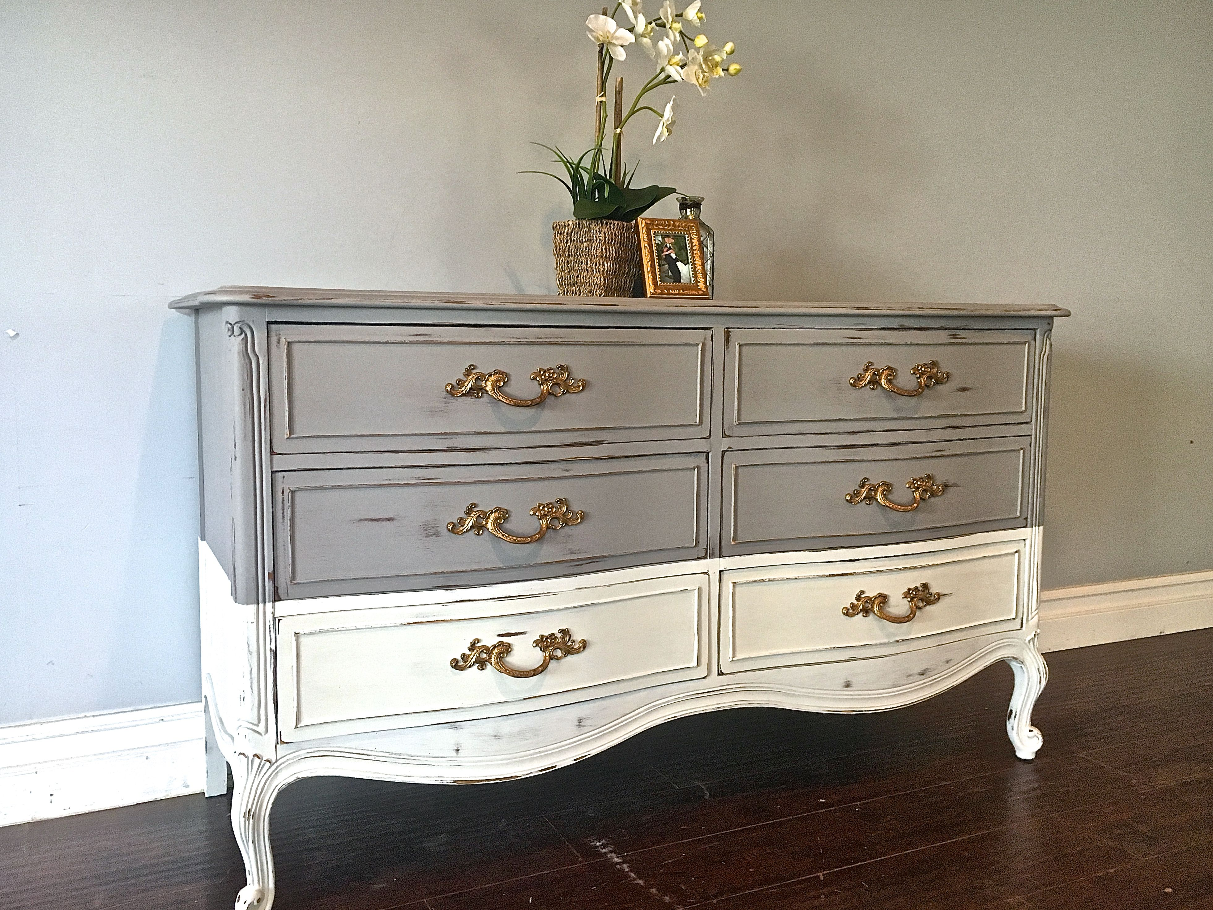 Two Toned Gray White Gold Dresser 400 Sold Real Milk
