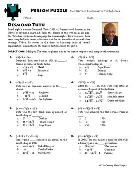 Person Puzzle - Multiplying Binomials with Radicals - Desmond Tutu Worksheet