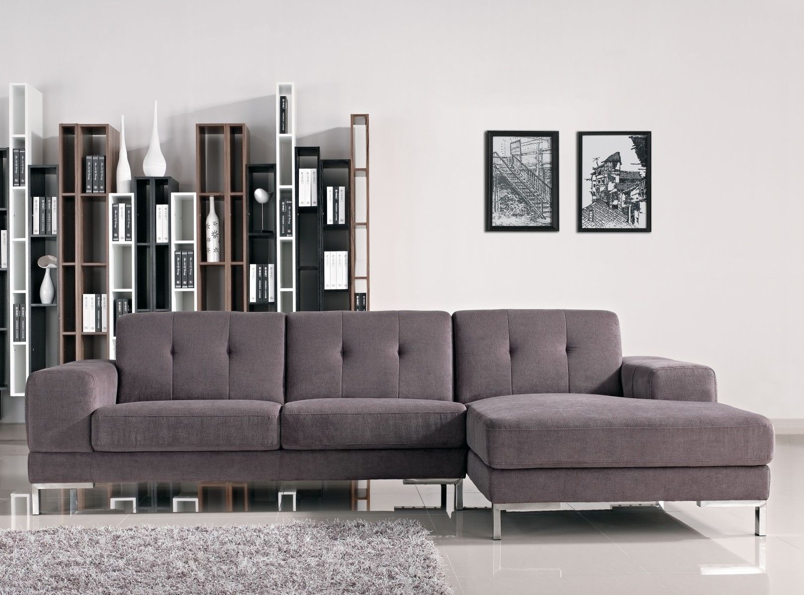Forli L Shape Gray Fabric Sectional Sofa Sectional sofas