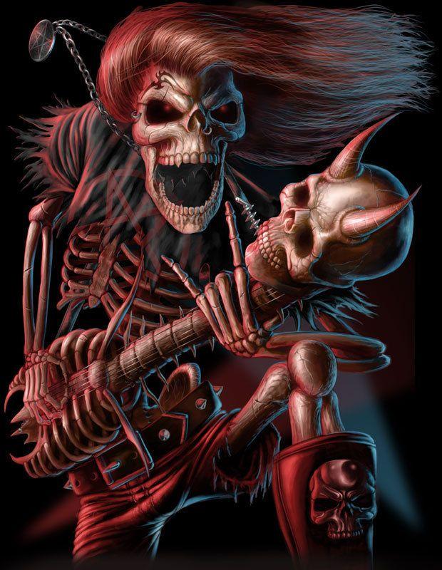Rock N Roll Skull Wallpaper Art Skull
