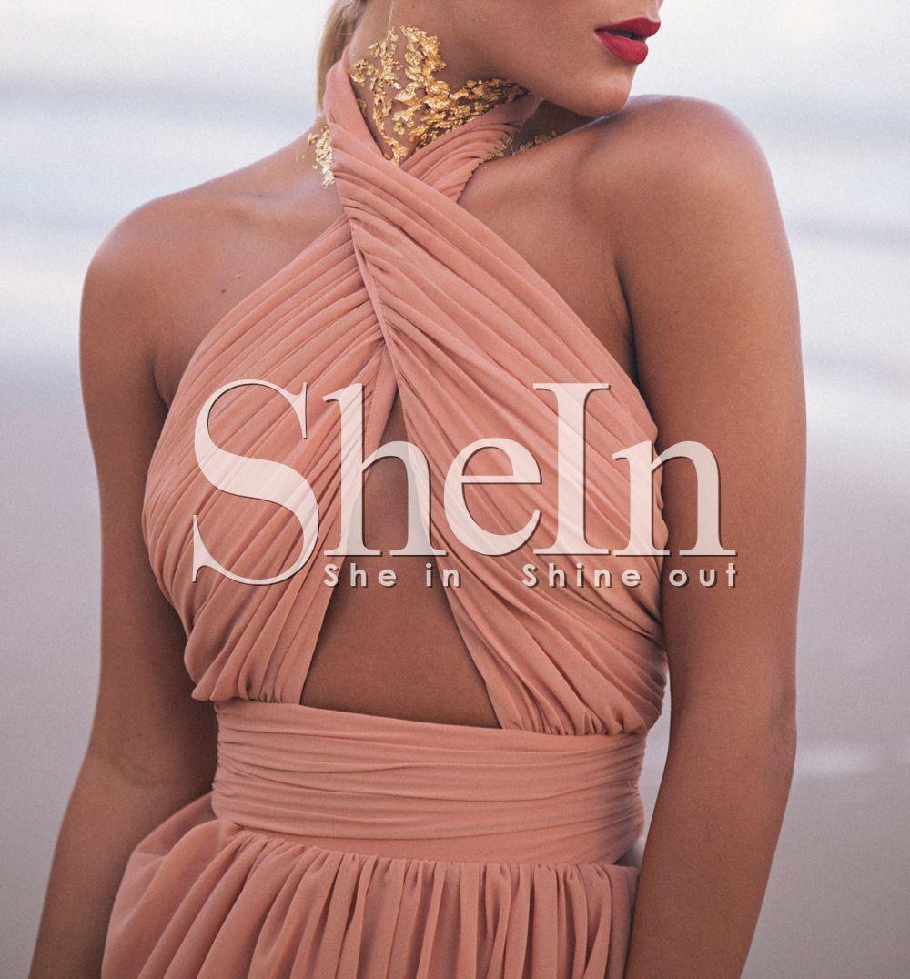 Pink Beachy Auburn Convertible Cross Halter Backless Maxi Dress -SheIn(Sheinside)