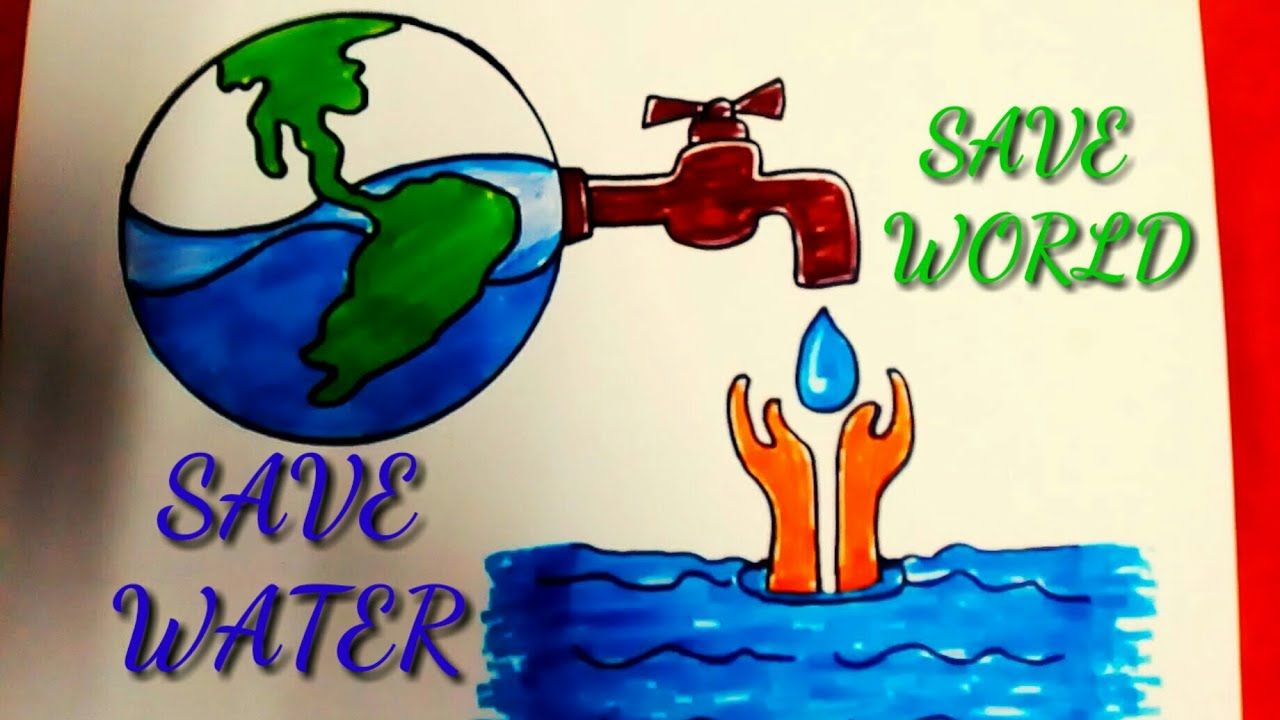 how to draw save water save earth colourful drawing in