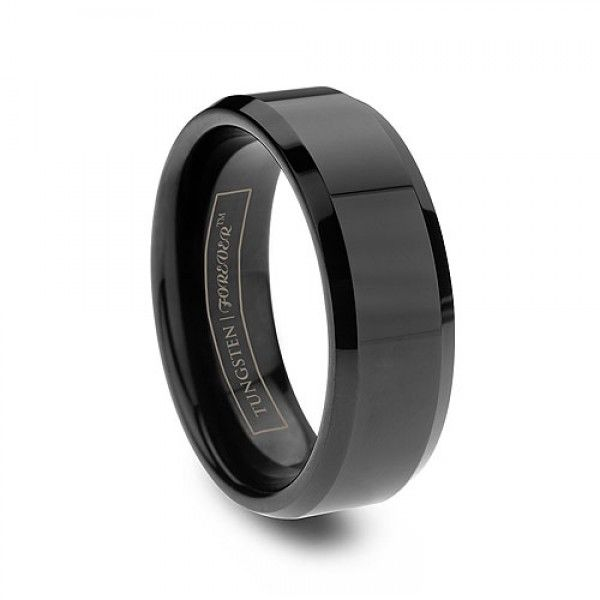 6mm 8mm 10mm Beveled Black Tungsten Wedding Band Black Tungsten Rings Mens Wedding Bands Tungsten Black Tungsten Wedding Band