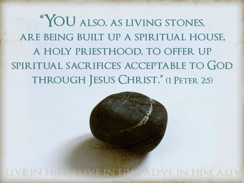 "Scripture Origins: ""and like living stones be yourselves built into a spiritual house, to be a holy priesthood, to offer spiritual sacrifices acceptable to God through Jesus Christ."" (1 Peter 2:5)"