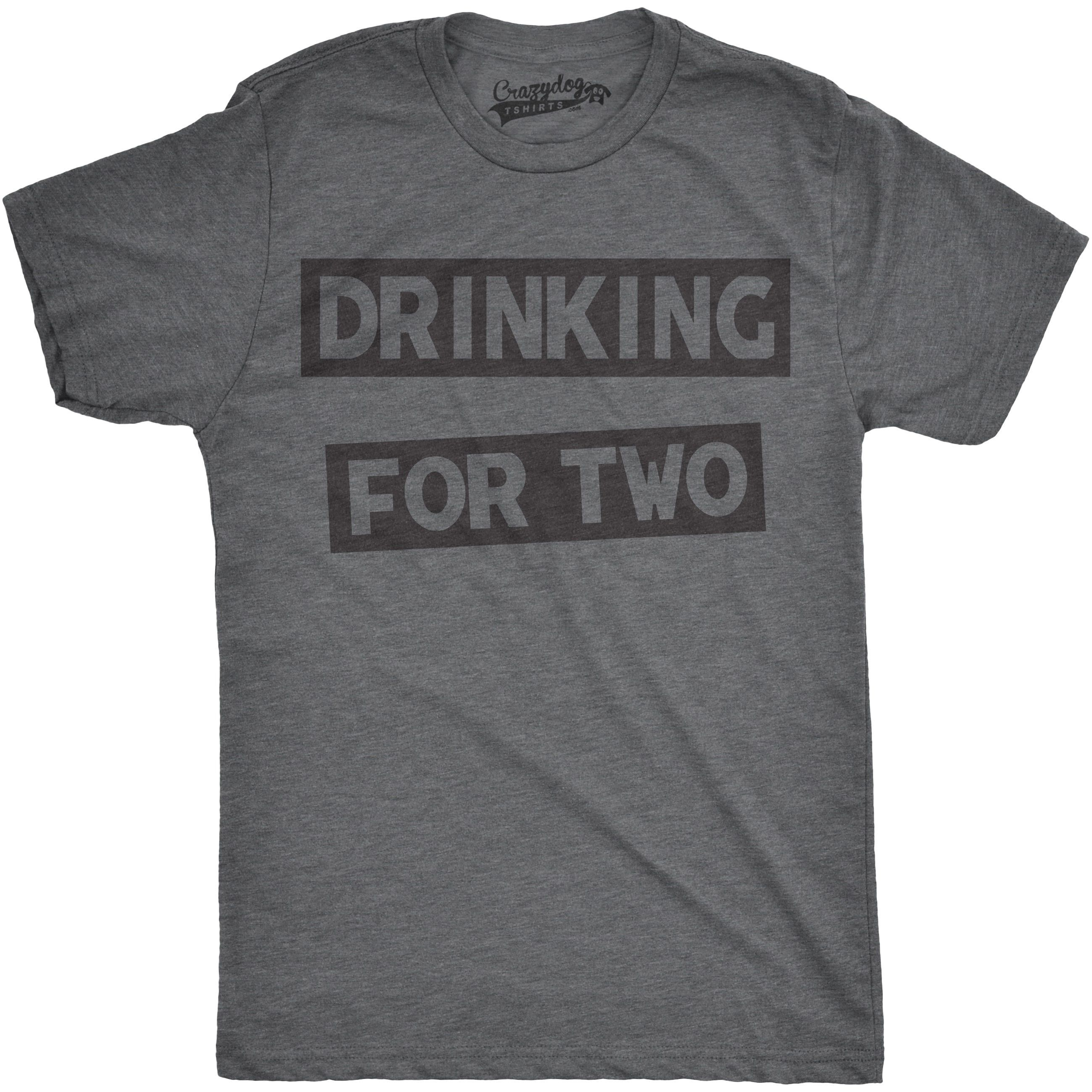 Mens Drinking For Two Funny Partying Tee Beer T Shirt L Grey Crazy Dog Shirts Cotton Graphic