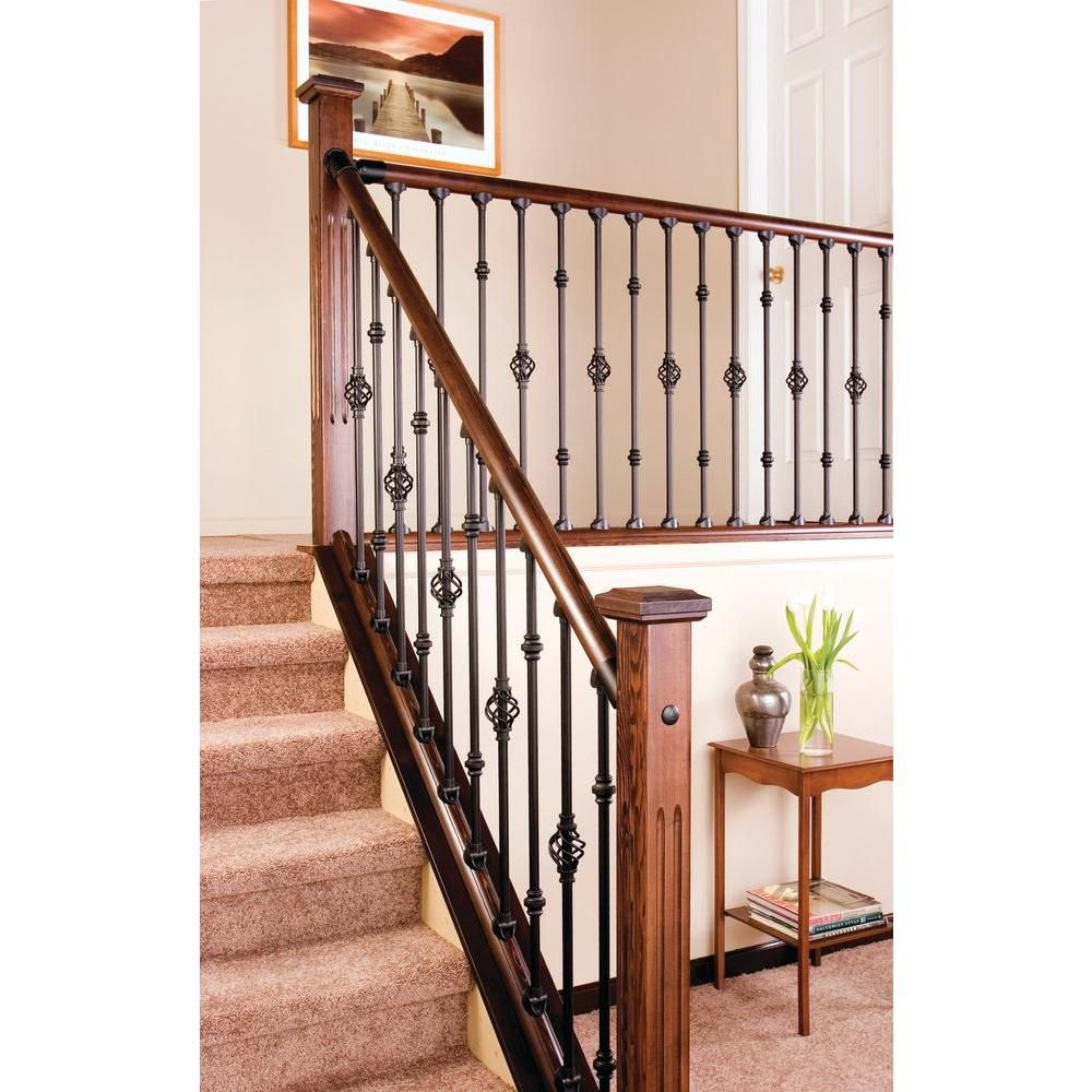 home depot interior stair railings stair simple axxys 8 ft stair rail kit stair railing 23974