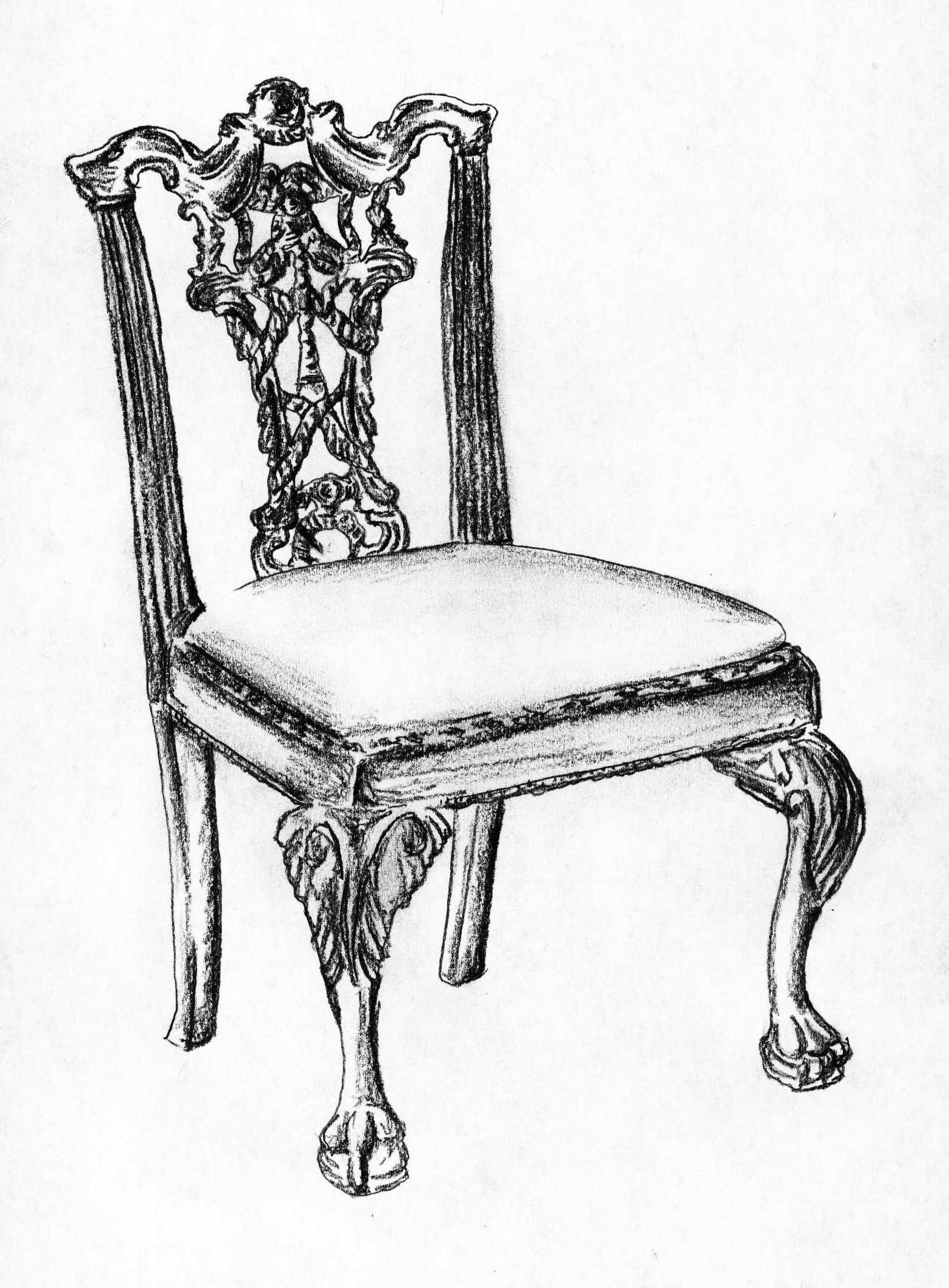 Black and white chair drawing - Chairs