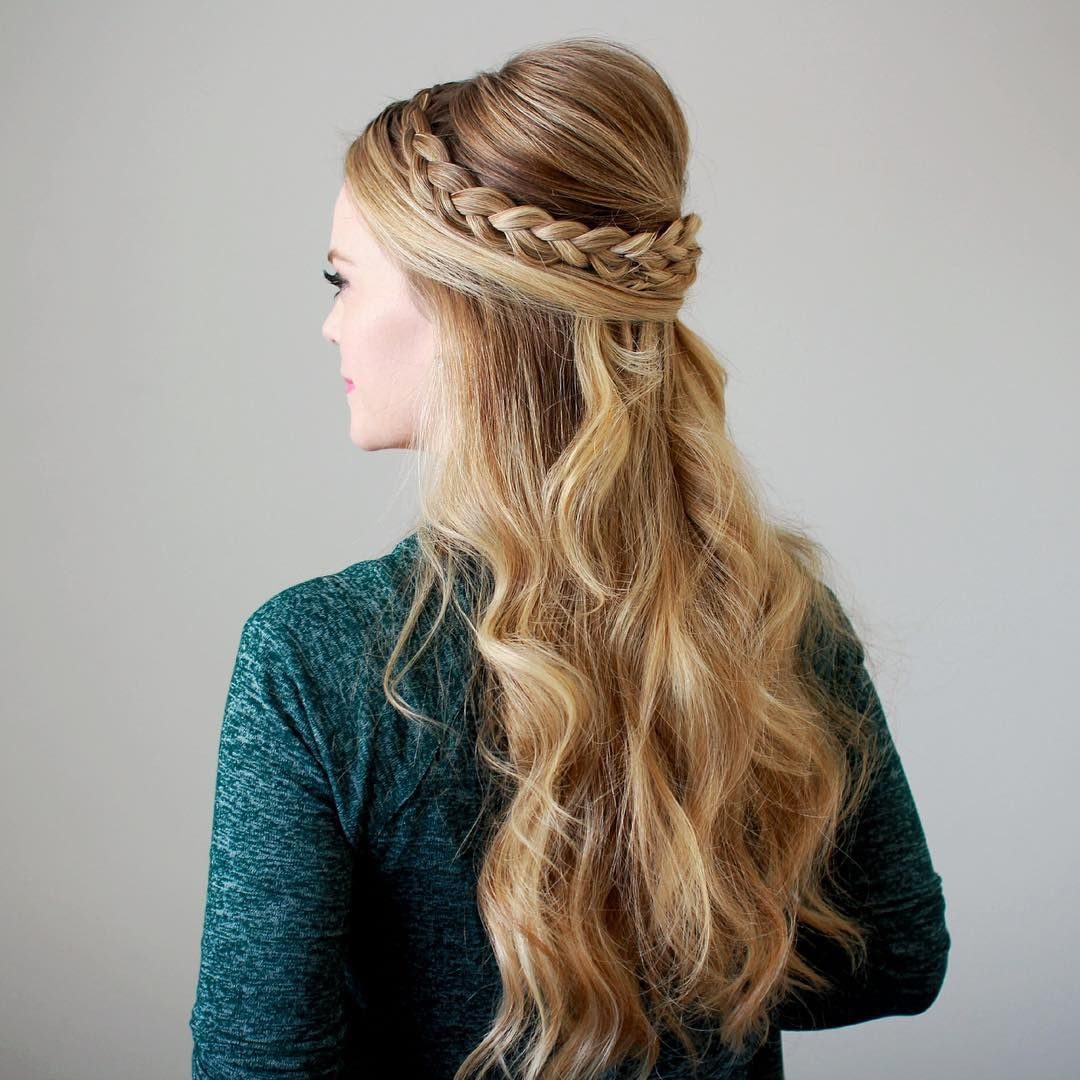 Wedding Hairstyles Up Half Up Down Straight With Braid: Love The Volume In This Half Up Half Down Braided Wedding