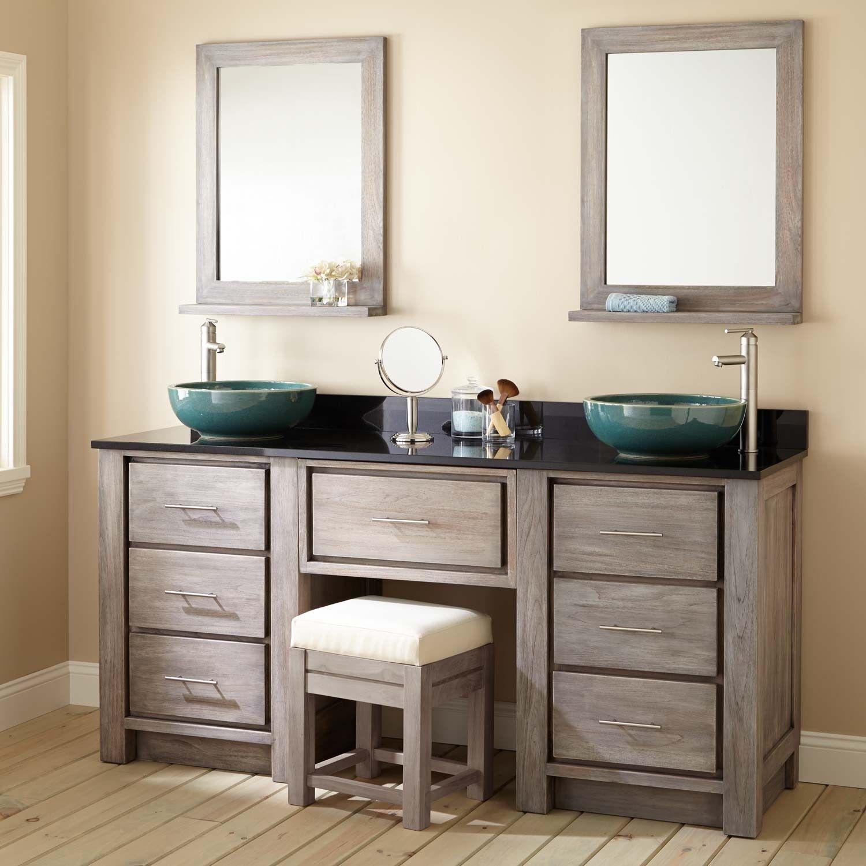 72 Venica Teak Double Vessel Sink Vanity With Makeup Area Gray Wash In 2019 Vessel Sink Vanity Closet Remodel Industrial Bathroom Vanity