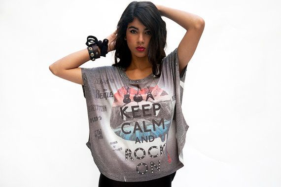 Women rock and roll printed  grey top short sleeves loose fitting on Etsy, .. So my #TeensStyle #TweenStyle #MyStyle