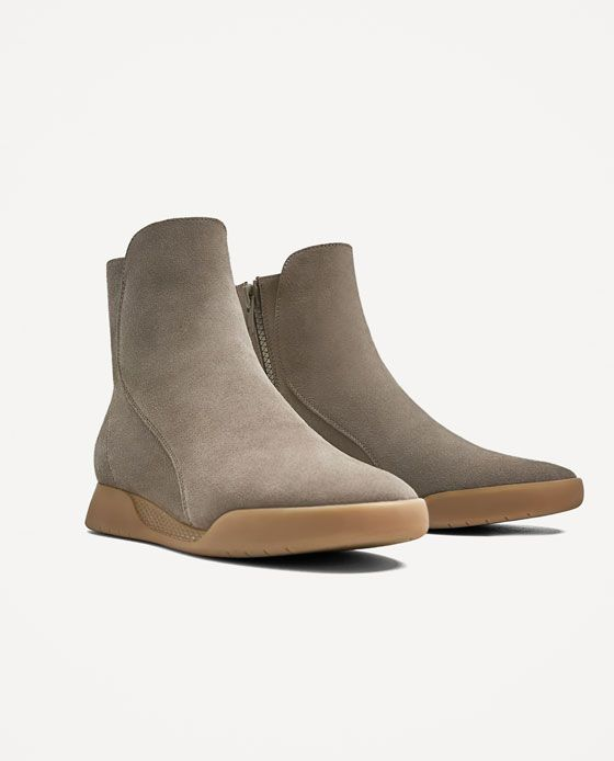 Wardrobe New Zara Grey From Of Sneakers Boot Style Image 2 Leather HCqwzvx