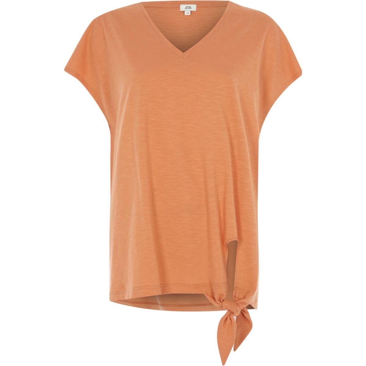 099829c7f12888 Orange V neck knot front T-shirt - Plain T-Shirts   Vests -