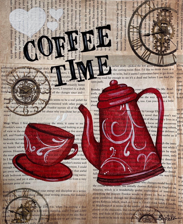 Original Watercolor Painting Wall Decor Coffee Time Kitchen Etsy In 2020 Coffee Watercolor Coffee Wall Decor Coffee Time