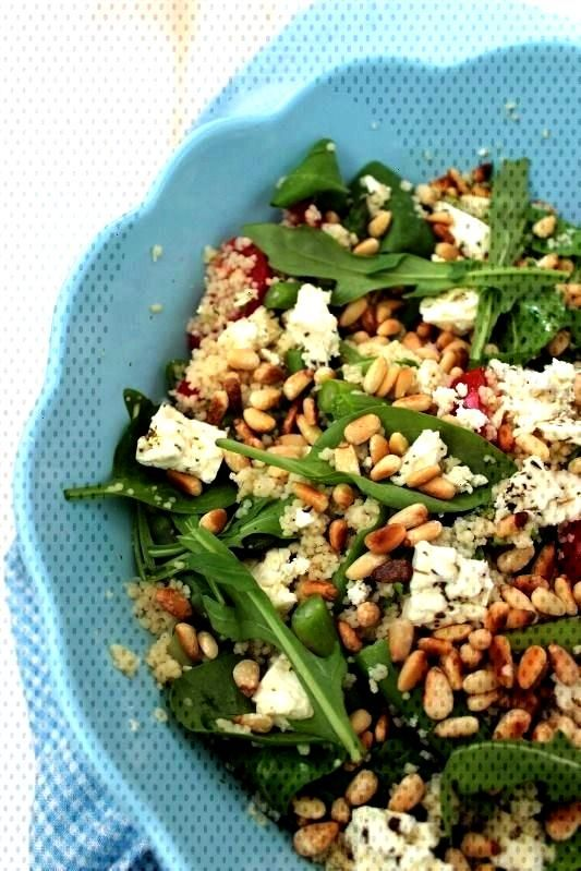 couscous salad with pine nuts, feta and green asparagus -Mediterranean couscous salad with pine nut