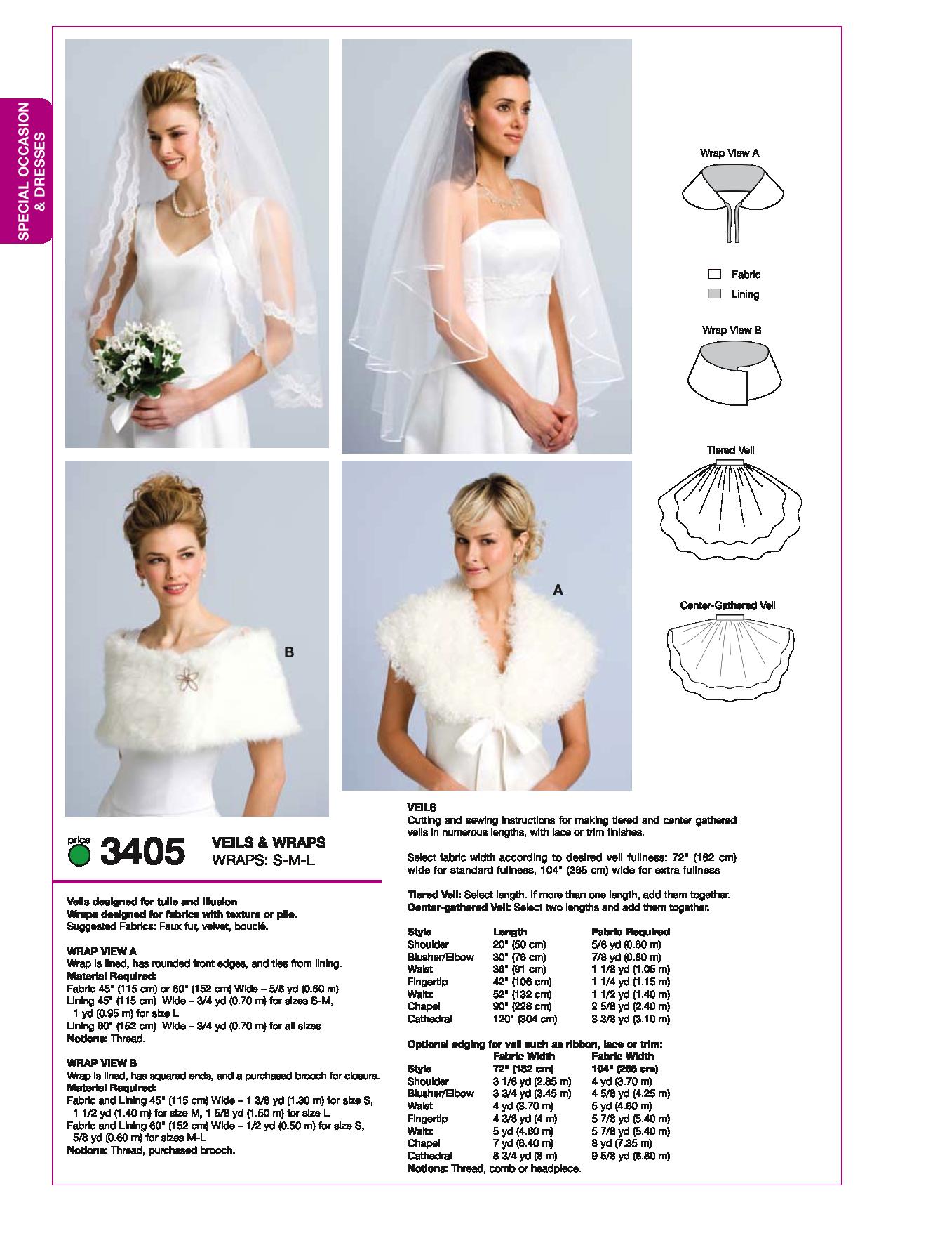 K3405 Misses\' Bridal Veils & Wraps | Vestidos# noiva | Pinterest
