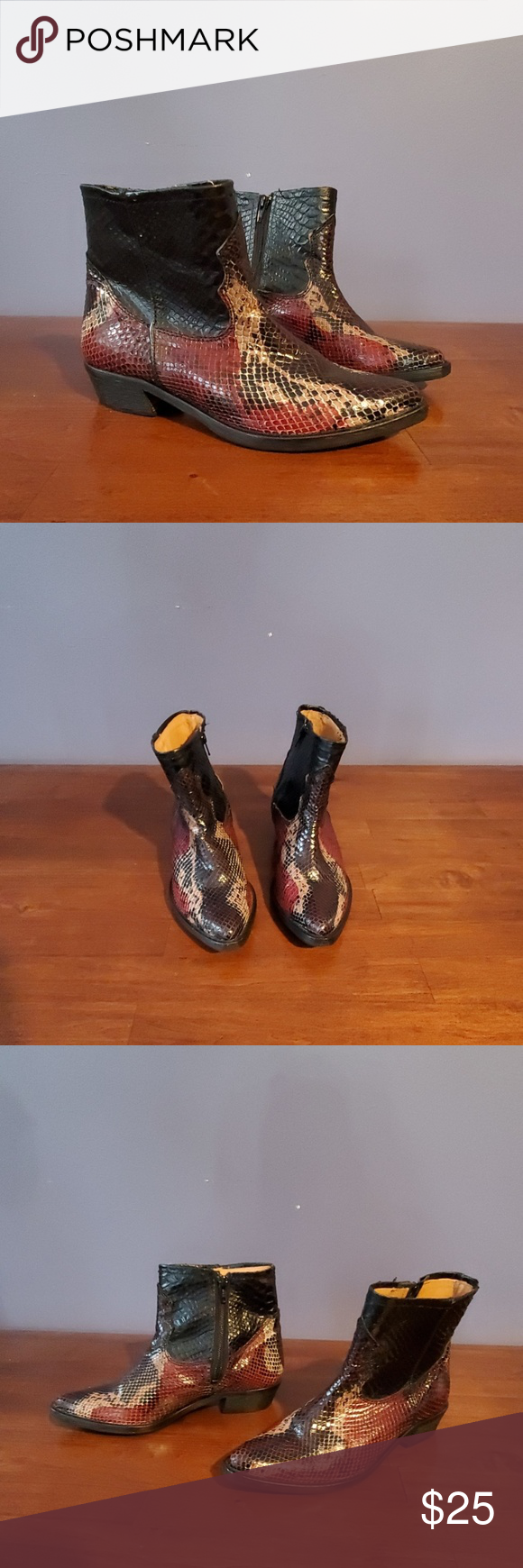 NEVER WORN Zara Snakeskin Print Boots - size 36 Never worn. Beautiful print & super stylish. Had sole protectors installed but never got to wear these.   US 6 / EU 36  Let me know if you have any questions! Zara Shoes #snakeprintbootsoutfit