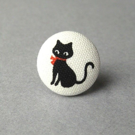 Black Cat Ring -Handmade Fabric Covered Button with an Adjustable Metal Base- Chat Noir