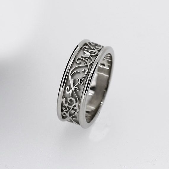 Details Wide White Gold Filigree Wedding Band Men By Torkkelijewellery Rings For Jewelry Style