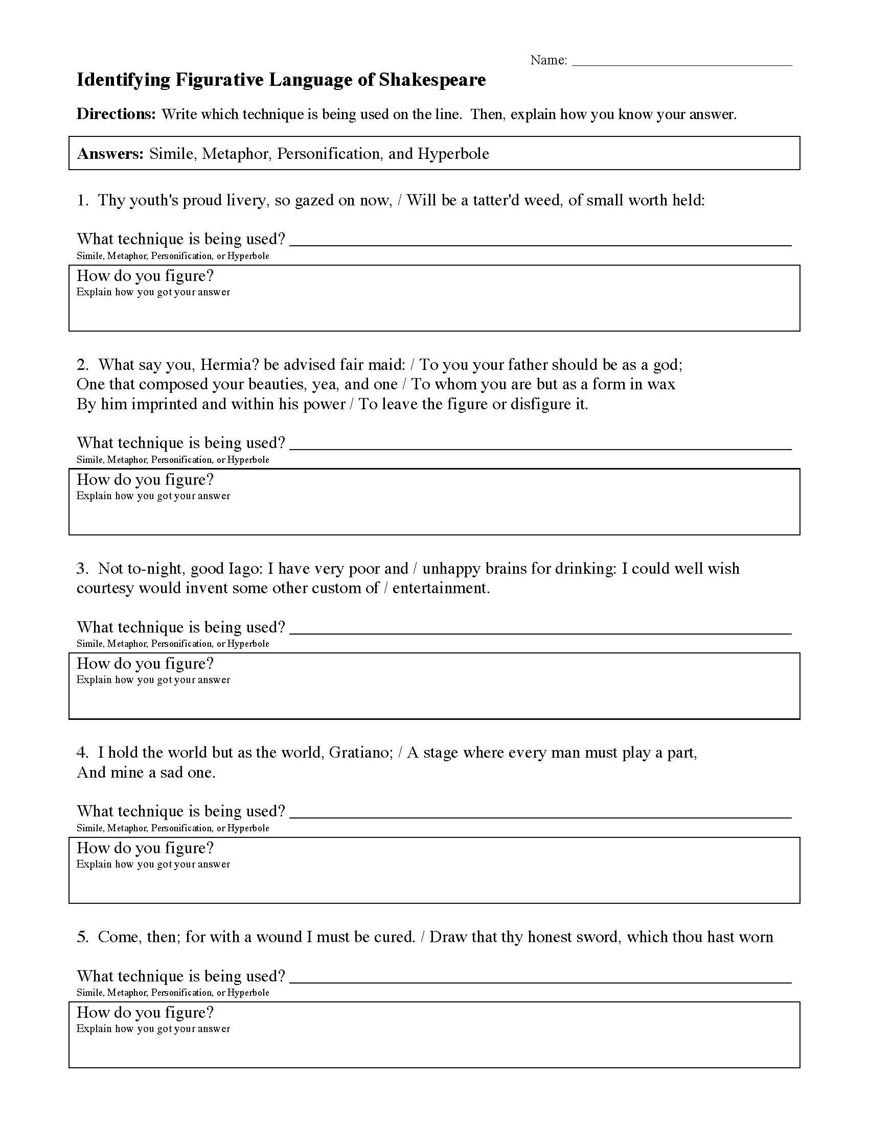 Personification Worksheets 6th Grade Figurative Language Worksheets In 2021 Figurative Language Worksheet Figurative Language Review Language Worksheets
