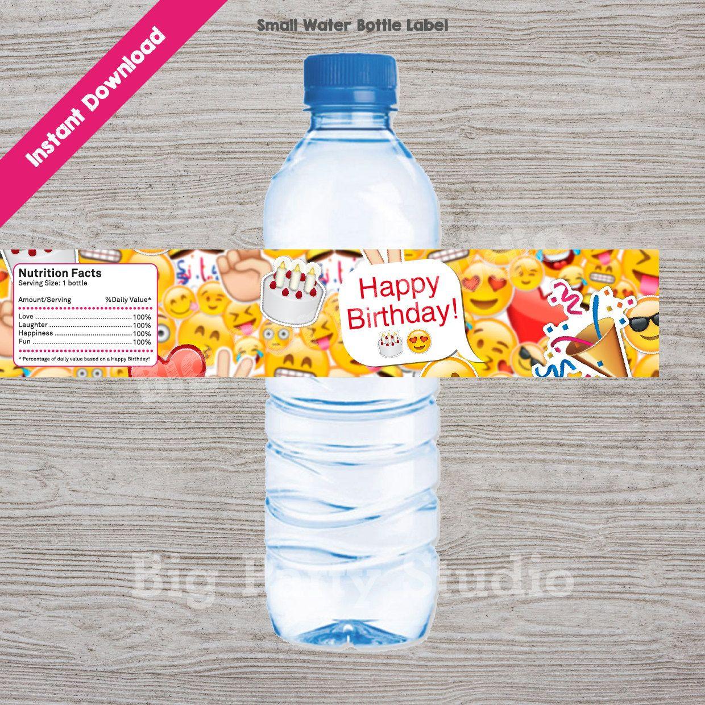 Emoji Happy Birthday Emoji Thank You For Coming Emoji Water Bottle Label