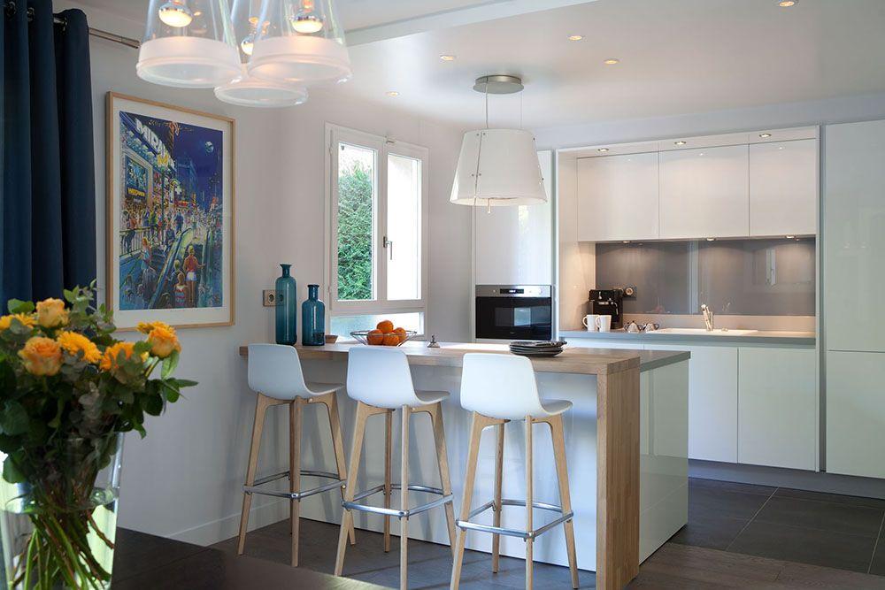 La #cuisine au #design #scandinave où le mariage du bois naturel et - entree de maison contemporaine