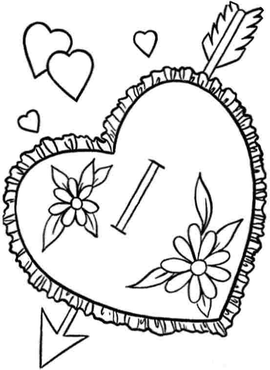 Hearts With Arrows Coloring Pages In 2020 Heart With Arrow
