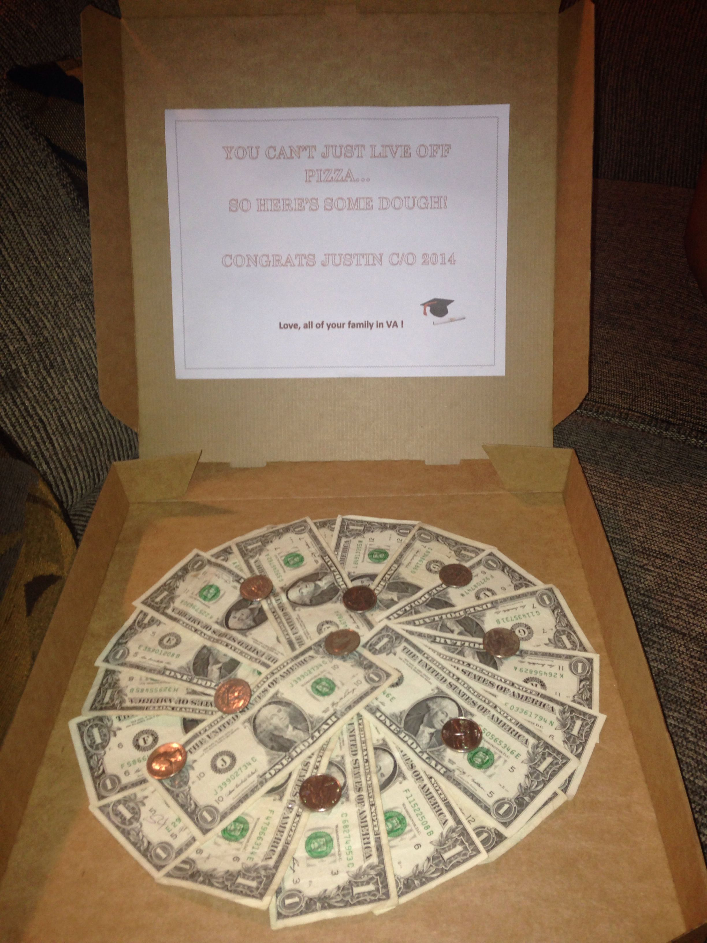 Pizza Box Of Money For High School Graduation