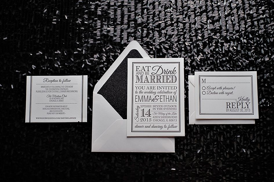 Black And White Glamour Invitations, Glitter Wedding Invitations,  Letterpress, Eat Drink And Be