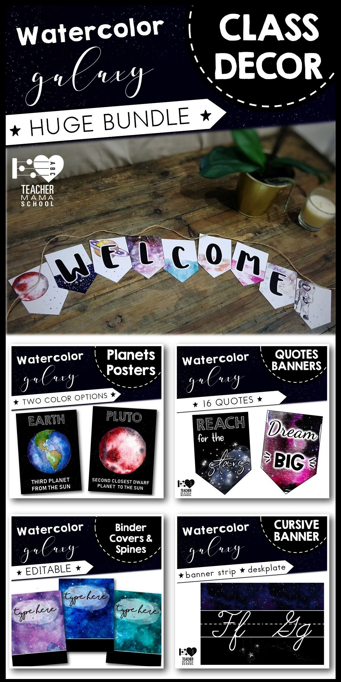 Decor FULL Bundle - Galaxy Space Theme -  Perfect for a space-themed classroom. Huge GROWING bundle