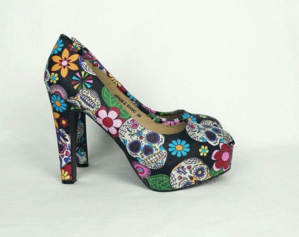 Day of the dead heels, sugar skull heels - My Sugar Skulls