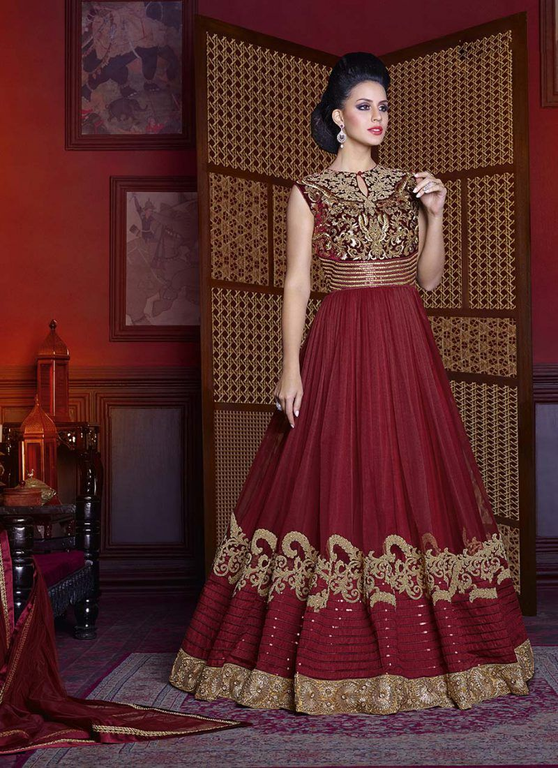 61865b07a3 Pretty Pair Of Indo-Western Maroon Colored Floor Touch Suit   Salwar ...