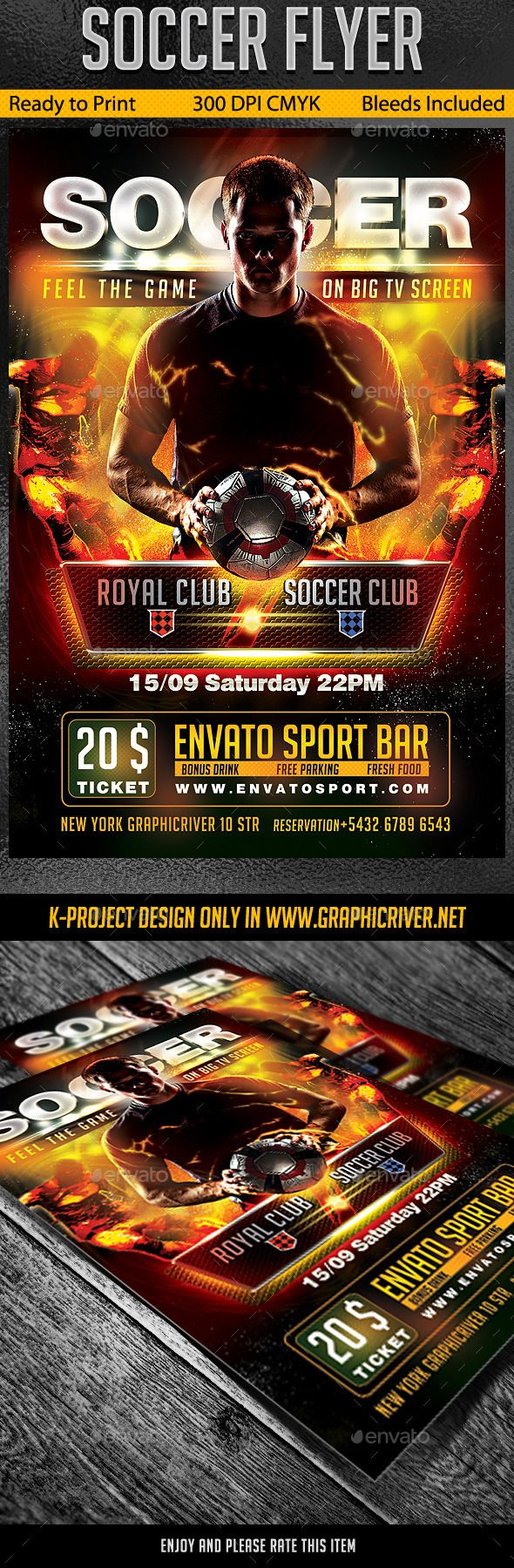 Soccer Flyer  Flyer Template Fonts And Template