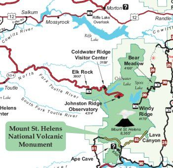 Mt St Helens Washington Map.Map Of Mount St Helens National Volcanic Monument My Goal For My