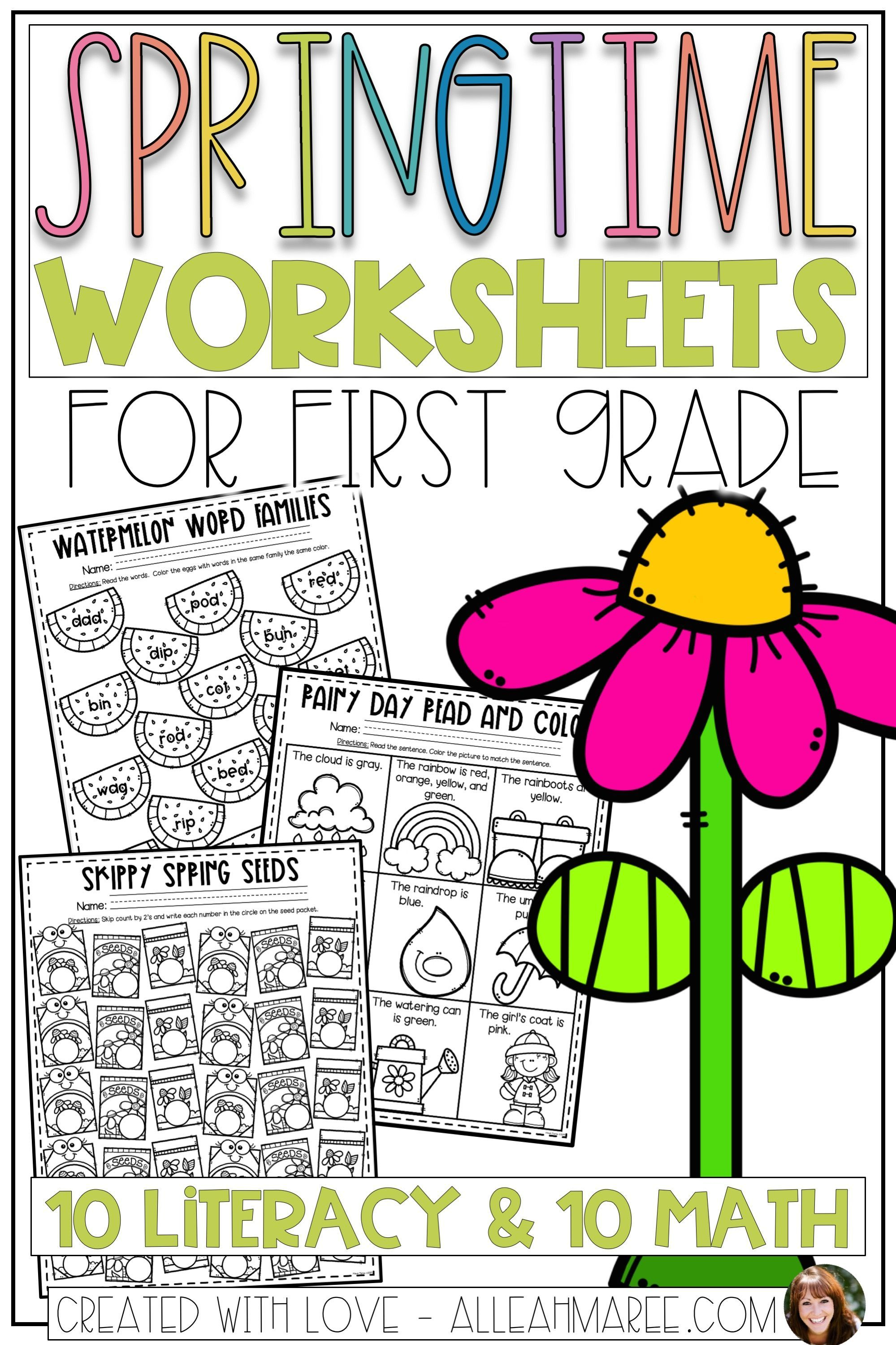 First Grade Worksheets Spring Literacy And Math No Prep