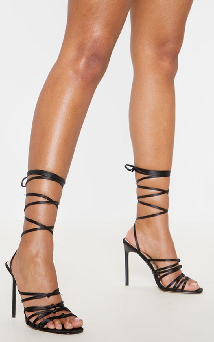 Black Satin Strappy Lace Up Sandal | Lace up sandals, Lace