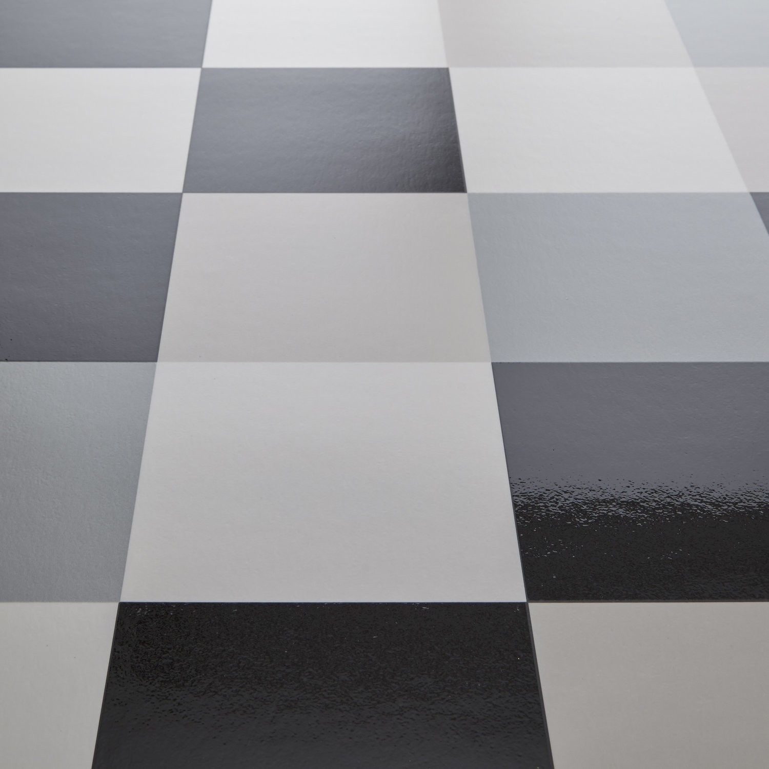 Hekto grey black chequered tile vinyl flooring for Black vinyl floor tiles