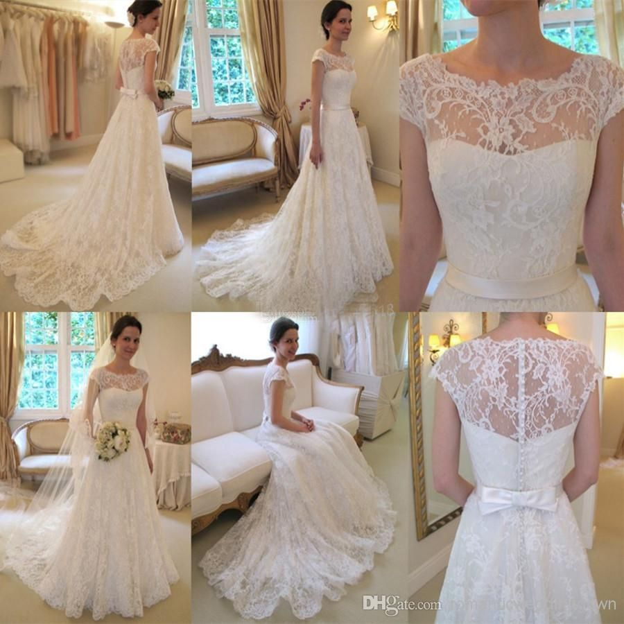 Cheap Lace Wedding Dresses Discount Arrival Glamorous Full Lace Appliqued Illusio Short Sleeve Wedding Dress Cheap Lace Wedding Dresses Prom Dress Short Lace