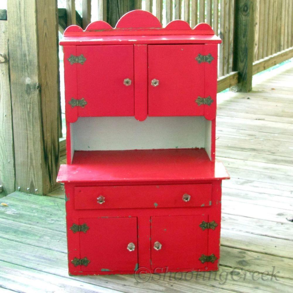 Vintage Child S Toy Kitchen Cabinet Wood Cupboard Red Glass Knobs 31