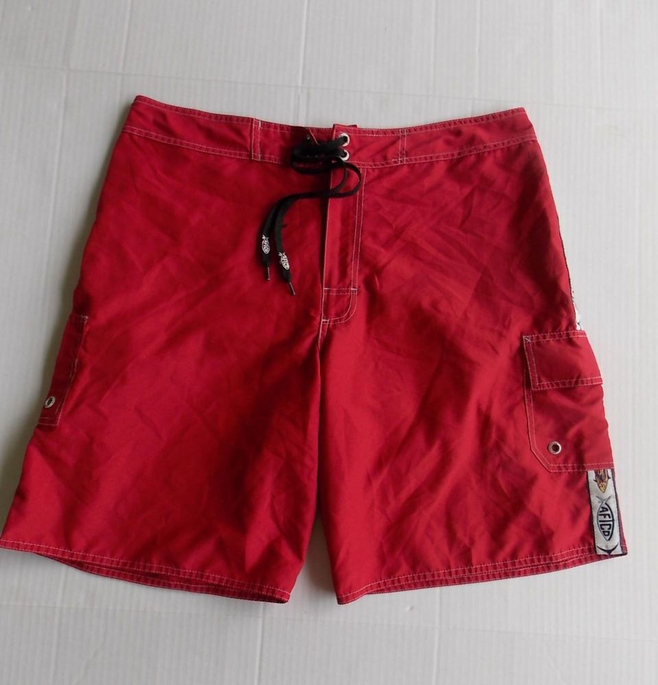 6ae7f57d84 Aftco Bluewater Mens 34 Board Shorts Fishing swim trunks red deckhand  baggies…