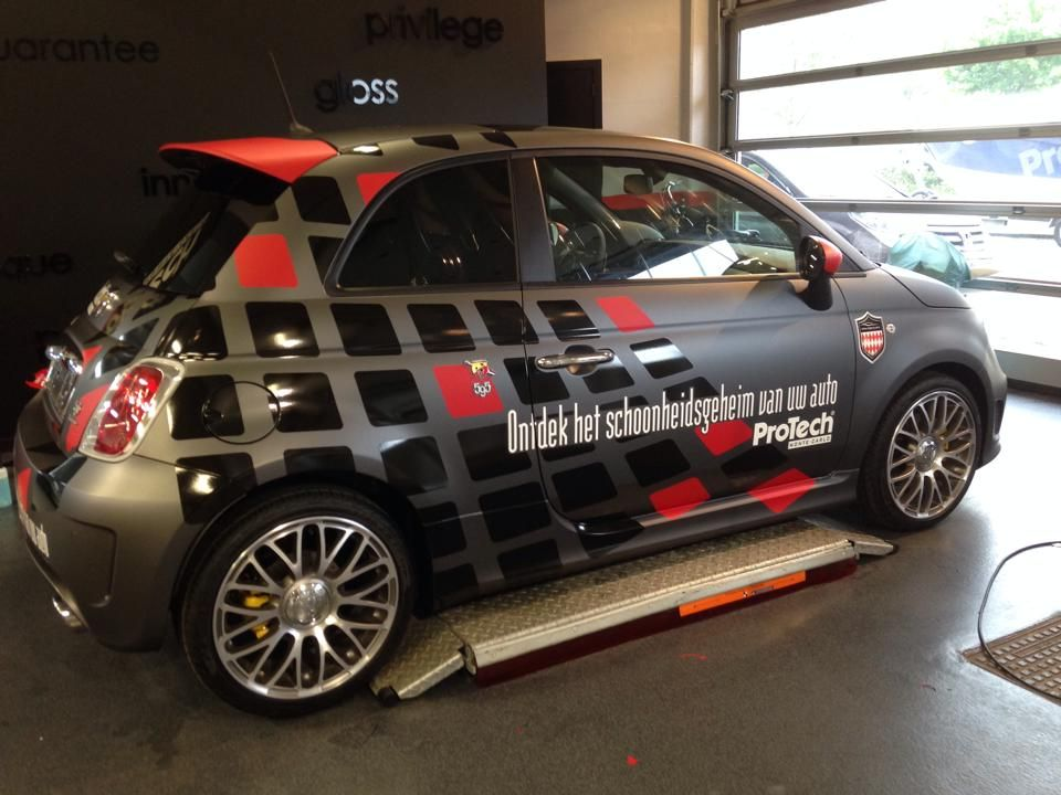 Car wrap design matte black with glossy black and red