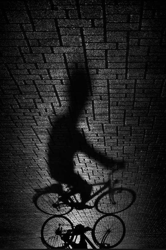 Bike Rider Shadow on the Bricks // Black and White photography