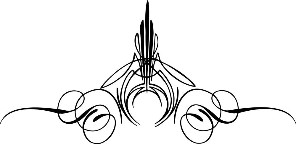 Custom Graphic Center Scroll Pinstriping Decal #12 Pair (2