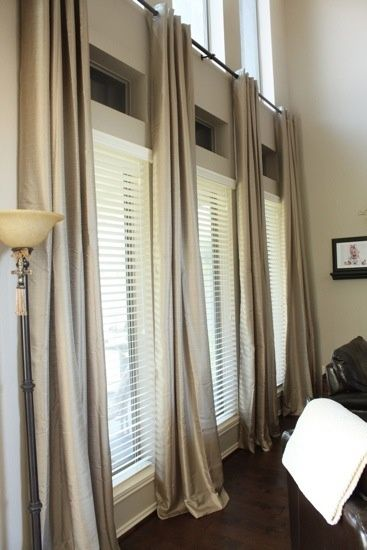 Grommeted Drapes Over Wood Blinds Long Living Room Curtains