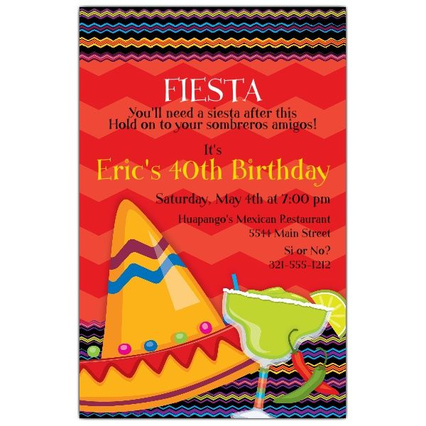 Fiesta Fun Birthday Invitations 60th Birthday party Pinterest - sample invitation wording for 60th birthday